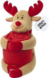 Reindeer Soft Toy With Fleece Blanket