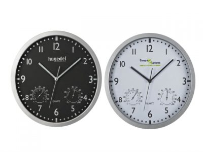 Wall clock with hygro- and thermometer
