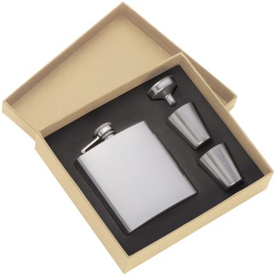Stainless steel hip flask with funnel and 2x cups
