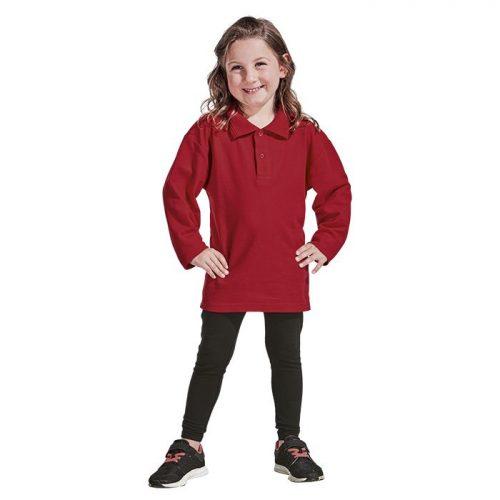 Kiddies 175g Pique Knit Long Sleeve Golfer – Avail in: Black
