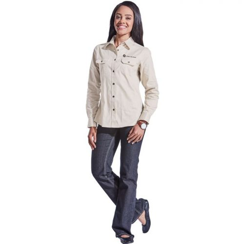 Ladies Bush Shirt Long Sleeve – Avail in: Navy or Stone