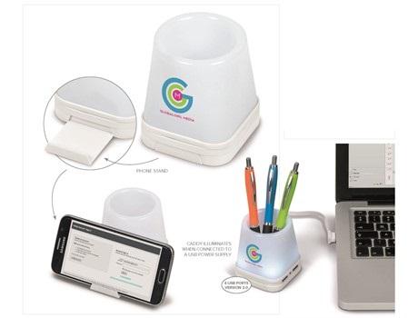 Luminate 3-in-1 Desk Caddy – White