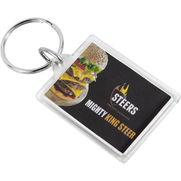 Sonic Welded Acrylic Keyring – Rectangle – Can take a full colour print