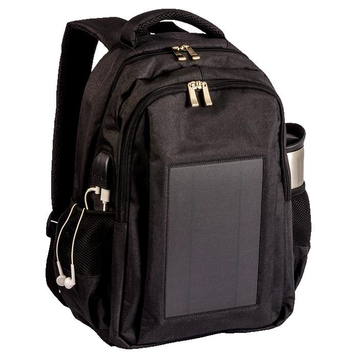 Solar Powered Tech Backpack. Laptop & Other Tech – Avail in: Black or Grey Melange