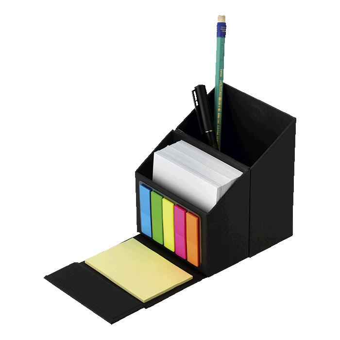 Flip Open Desk Organiser With Sticky Notes – Avail in: Black