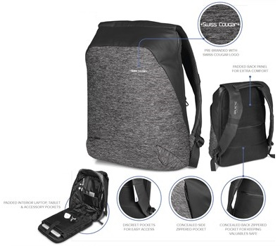 Swiss Cougar Equity Tech Backpack – Grey