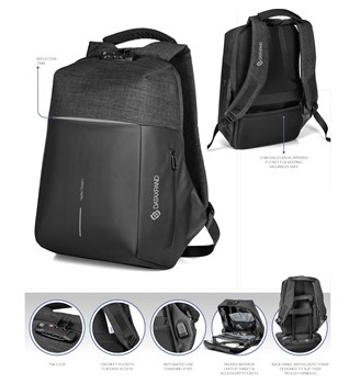 Swiss Cougar Smart Anti-Theft Backpack – Black